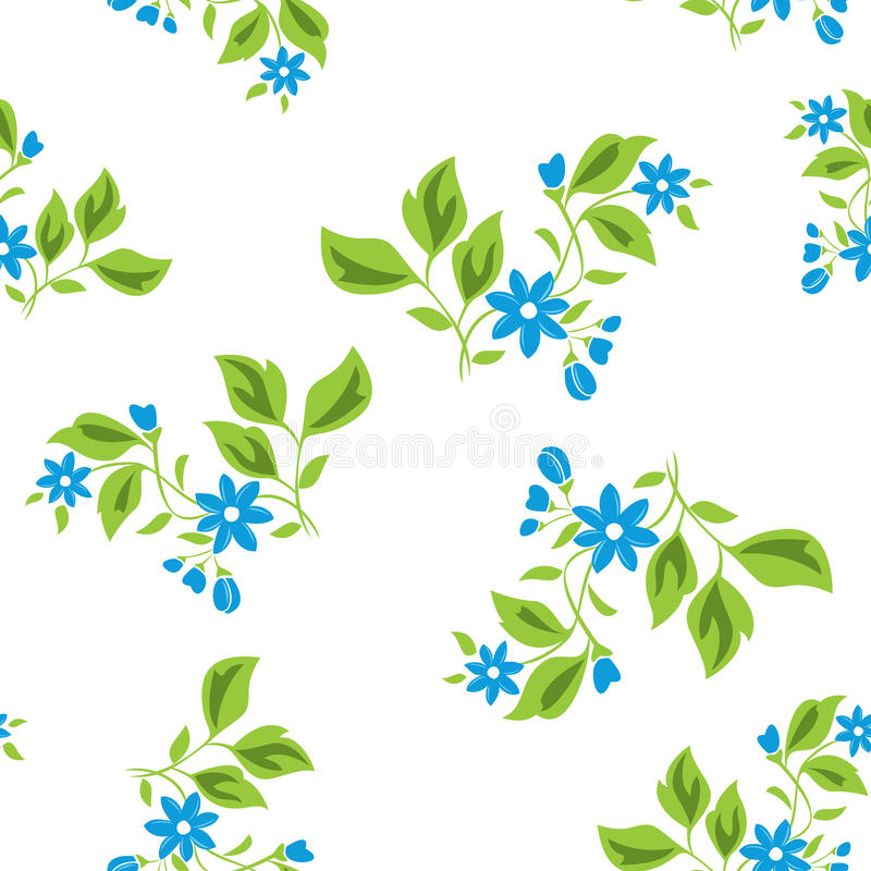 蓝色花卉花无缝的纹理向量 皇族释放例证