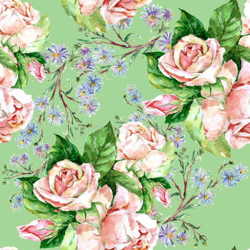 蓝色花和玫瑰,水彩 库存例证