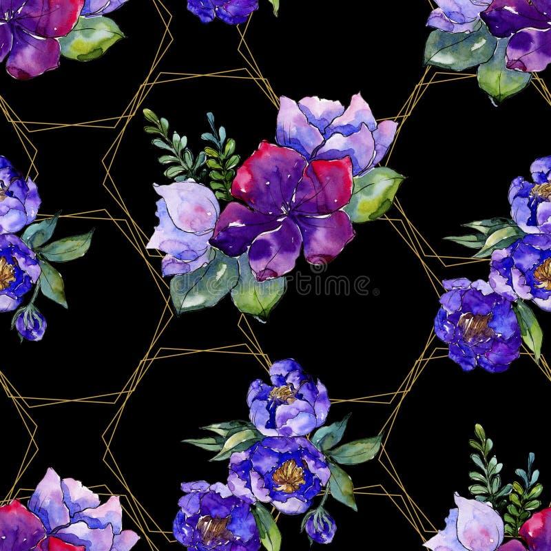 蓝色花束花 花卉植物的花 无缝的背景模式 库存图片