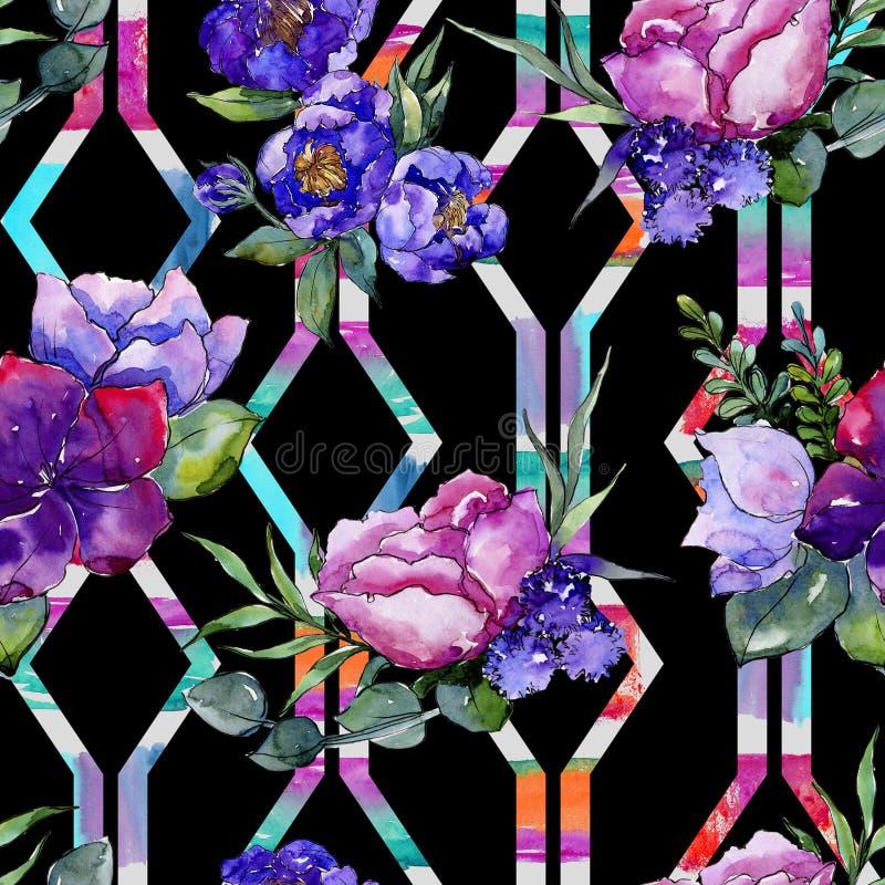 蓝色花束花 花卉植物的花 无缝的背景模式 库存例证