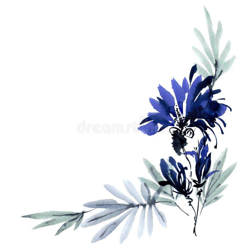 蓝色花束花 皇族释放例证