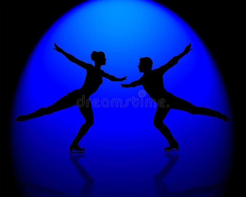 蓝色花样滑冰运动员聚光灯 库存例证
