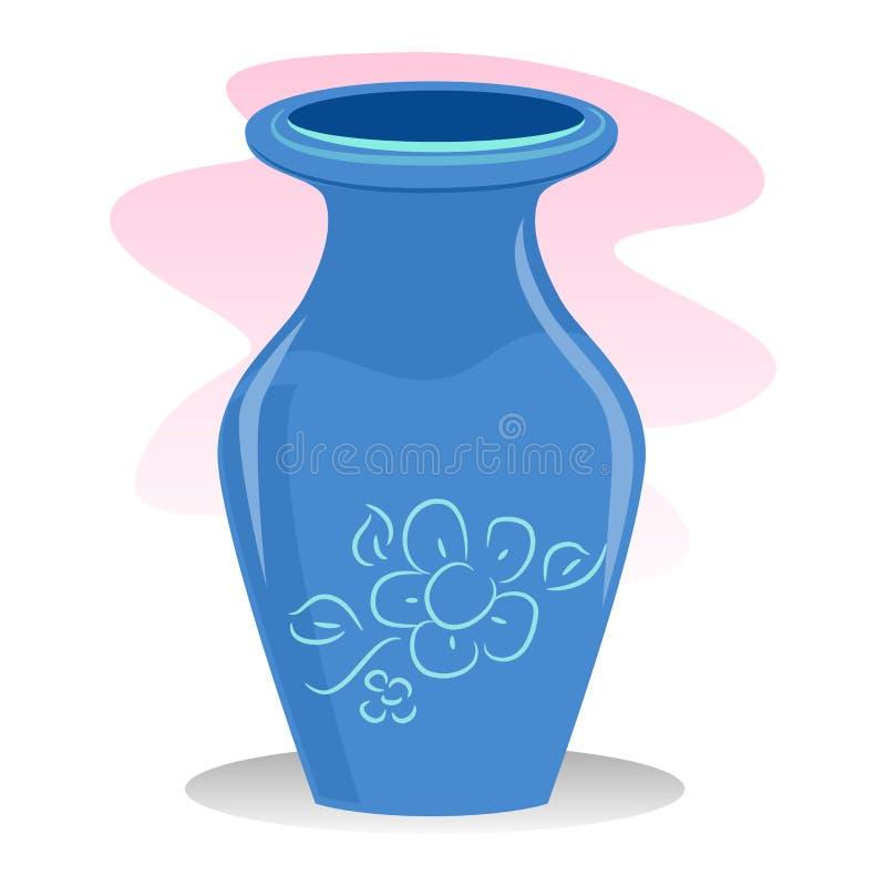 蓝色花瓶 库存例证