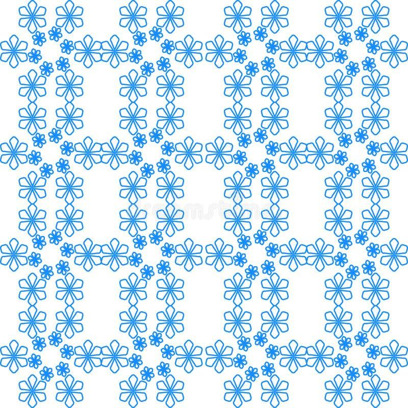 蓝色花的无缝的样式在白色背景的 皇族释放例证