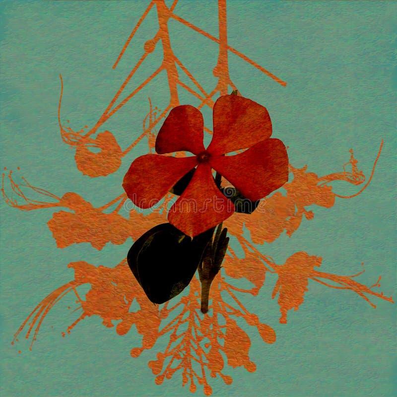 蓝色花纸张红色被洗涤的水彩 皇族释放例证