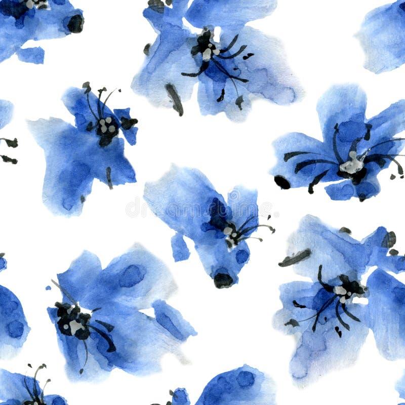 蓝色花纹花样 向量例证