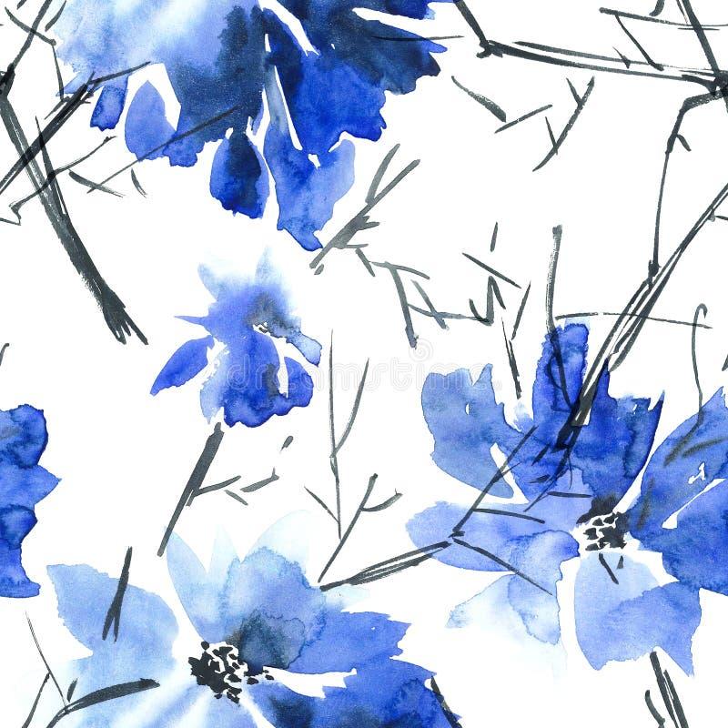 蓝色花纹花样 皇族释放例证