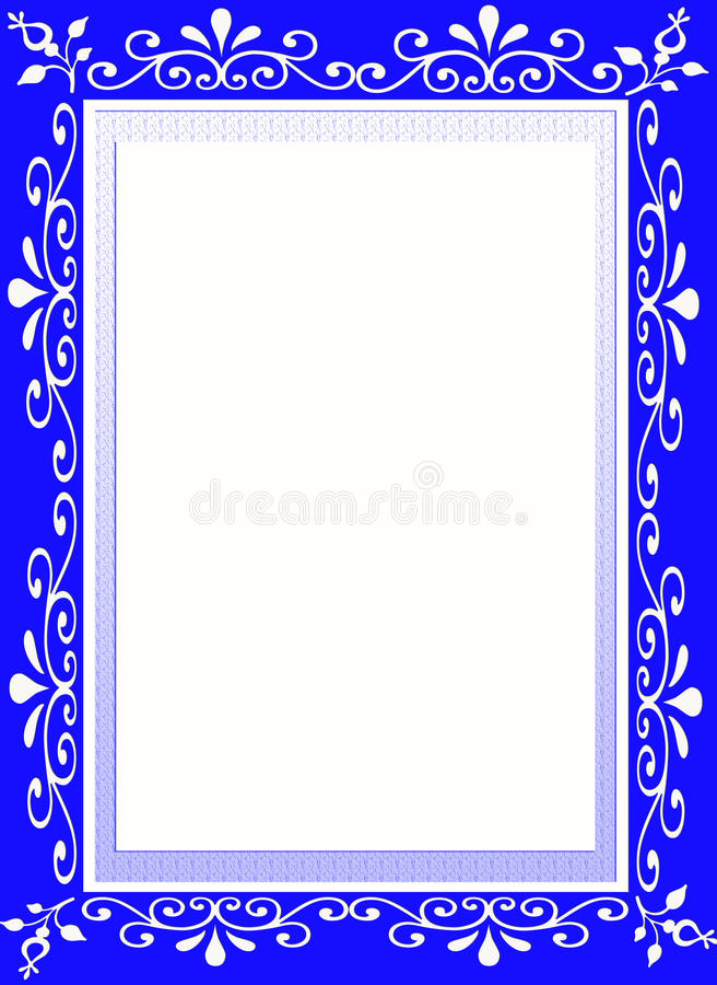 蓝色花设计员框架边界 皇族释放例证