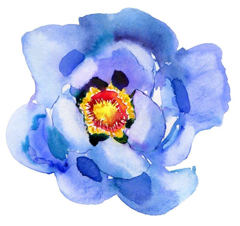 蓝色花 多孔黏土更正高绘画photoshop非常质量扫描水彩 美丽的水彩花 库存图片