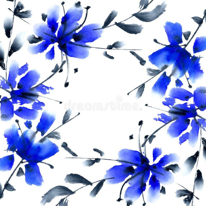 蓝色花 向量例证