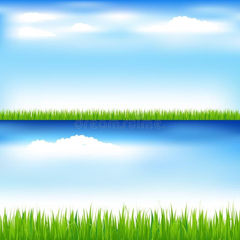 蓝色草绿色天空向量 库存例证