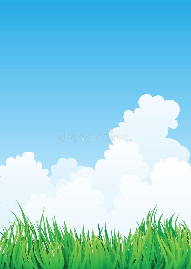 蓝色草绿色天空 皇族释放例证