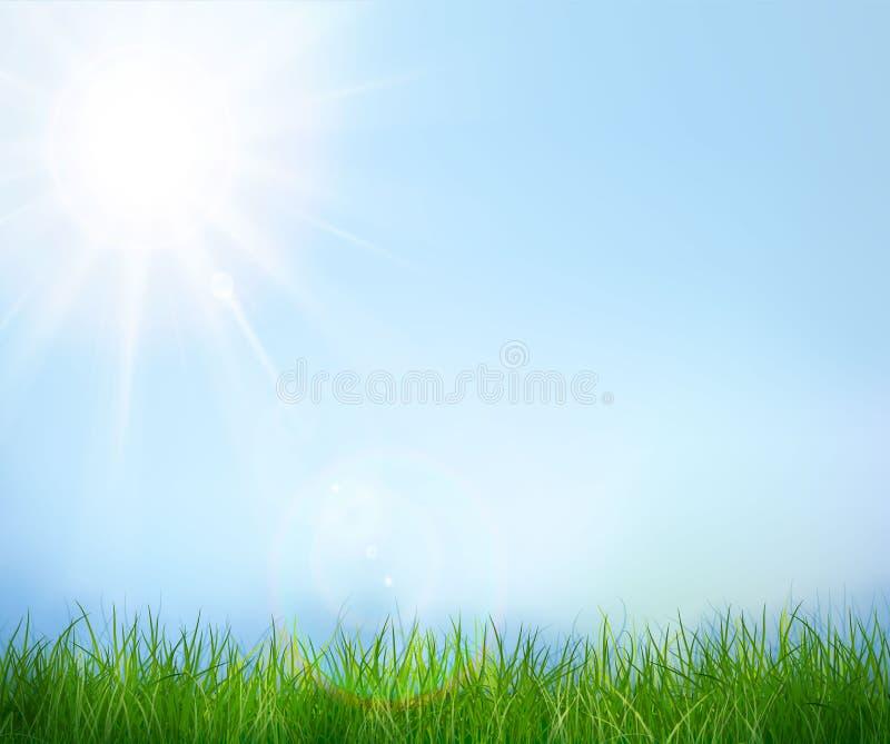 蓝色草绿色天空 向量背景 向量例证
