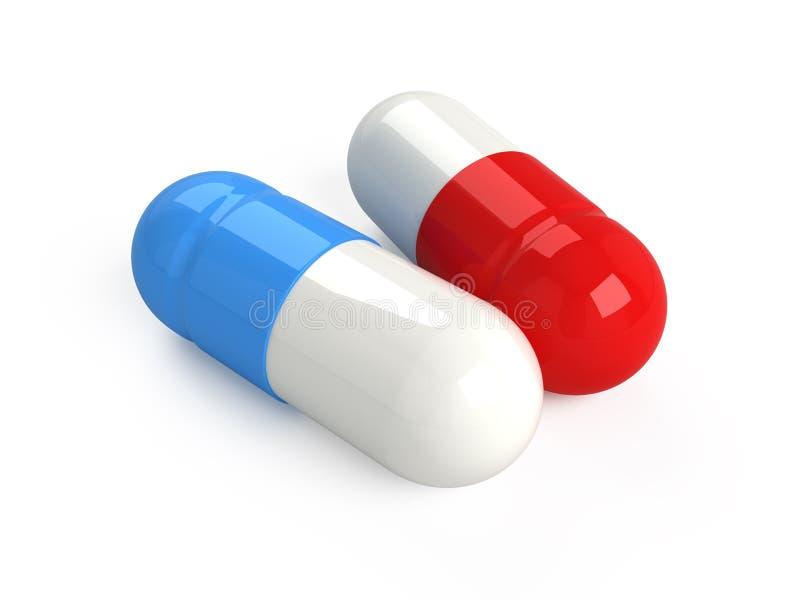 蓝色药片红色 库存例证