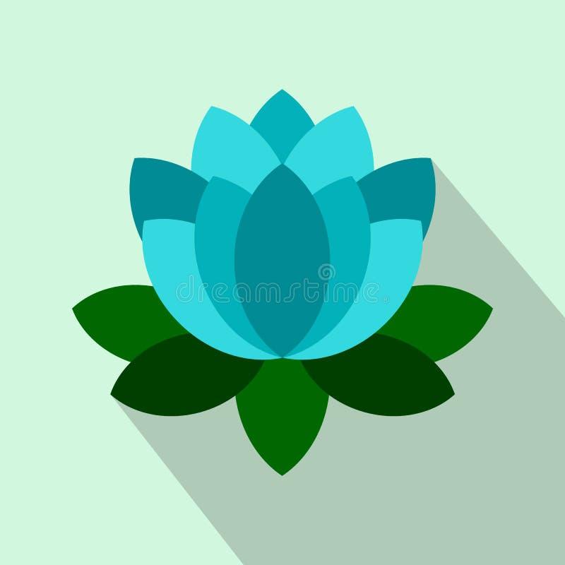 蓝色荷花花象,平的样式 库存例证