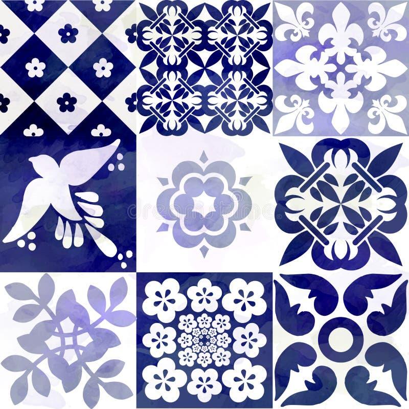 蓝色葡萄牙瓦片样式- Azulejos时尚室内设计瓦片 库存例证