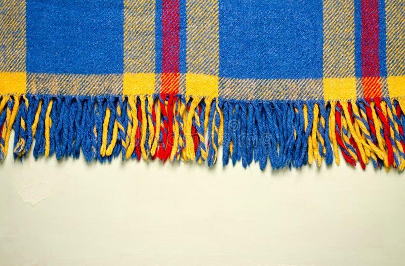 蓝色葡萄酒毯子格子花wth拷贝空间,纹理背景 图库摄影