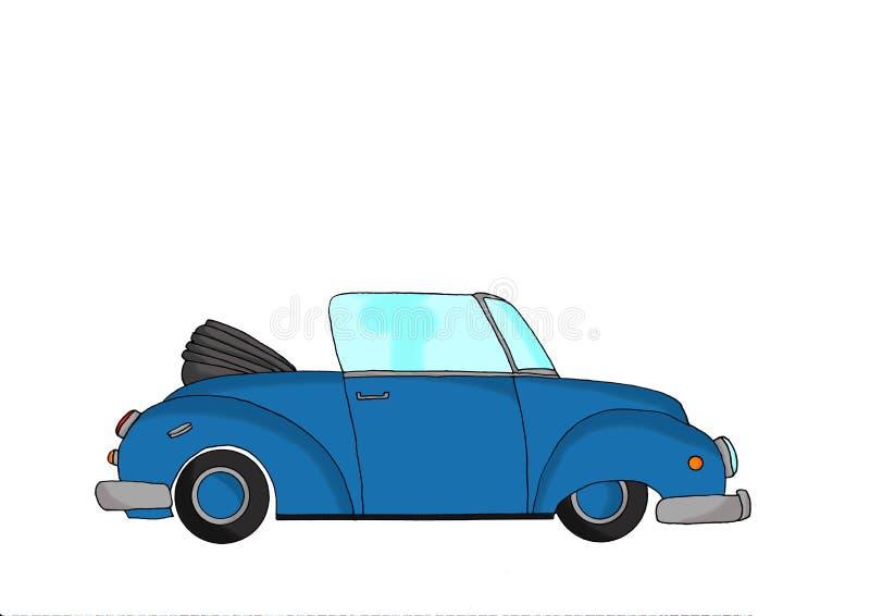 蓝色葡萄酒幻想汽车 向量例证