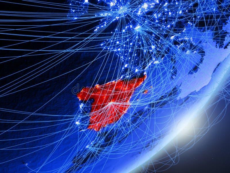 蓝色蓝色数字地球上的西班牙 向量例证