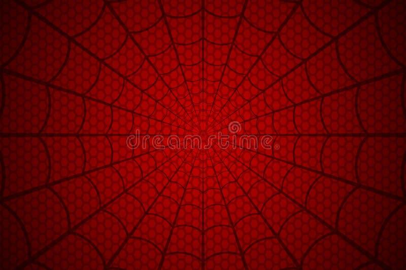 蓝色虚拟蜘蛛色彩万维网 在红色背景的蜘蛛网 也corel凹道例证向量 库存例证