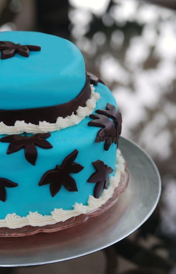 蓝色蛋糕婚礼 库存图片