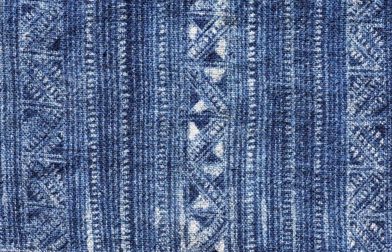 蓝色蜡染布布料样式 免版税库存照片