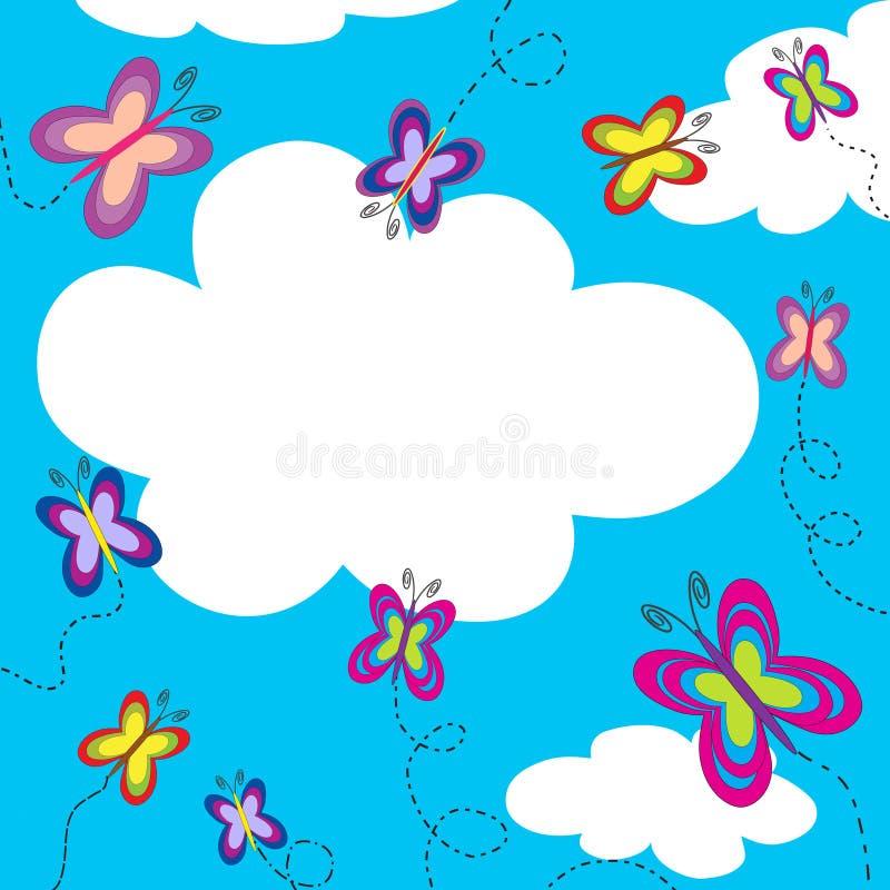 蓝色蝴蝶五颜六色的飞行天空 向量例证