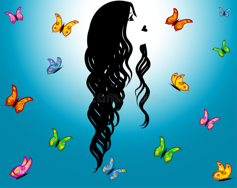 蓝色蝴蝶塑造外形女孩天空 向量例证