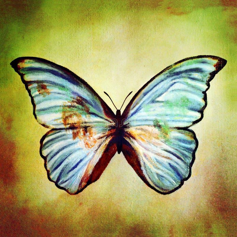 蓝色蝴蝶油画  向量例证