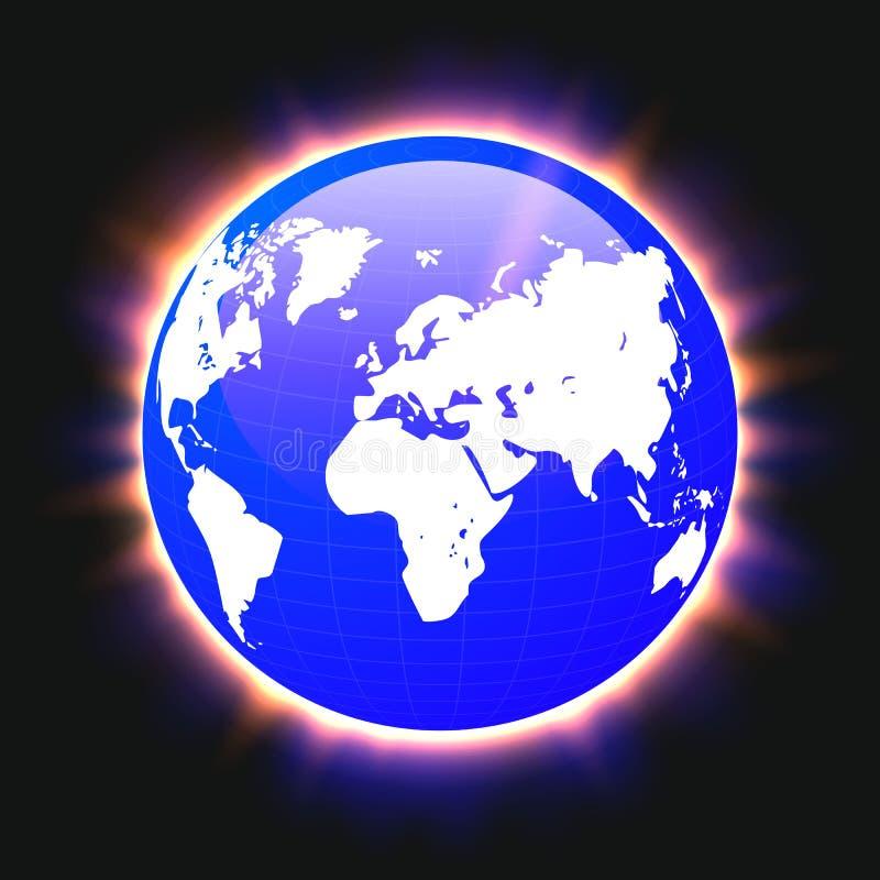 蓝色行星地球和世界地图五颜六色的光束,传染媒介 向量例证