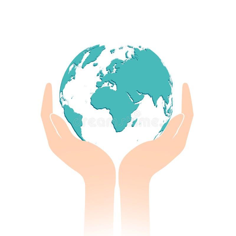蓝色行星地球在白色背景隔绝的两只人的手上 E r 皇族释放例证