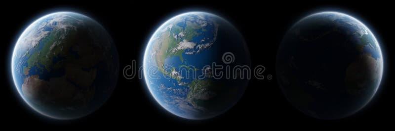 蓝色行星地球看法在空间汇集3D翻译eleme的 库存例证