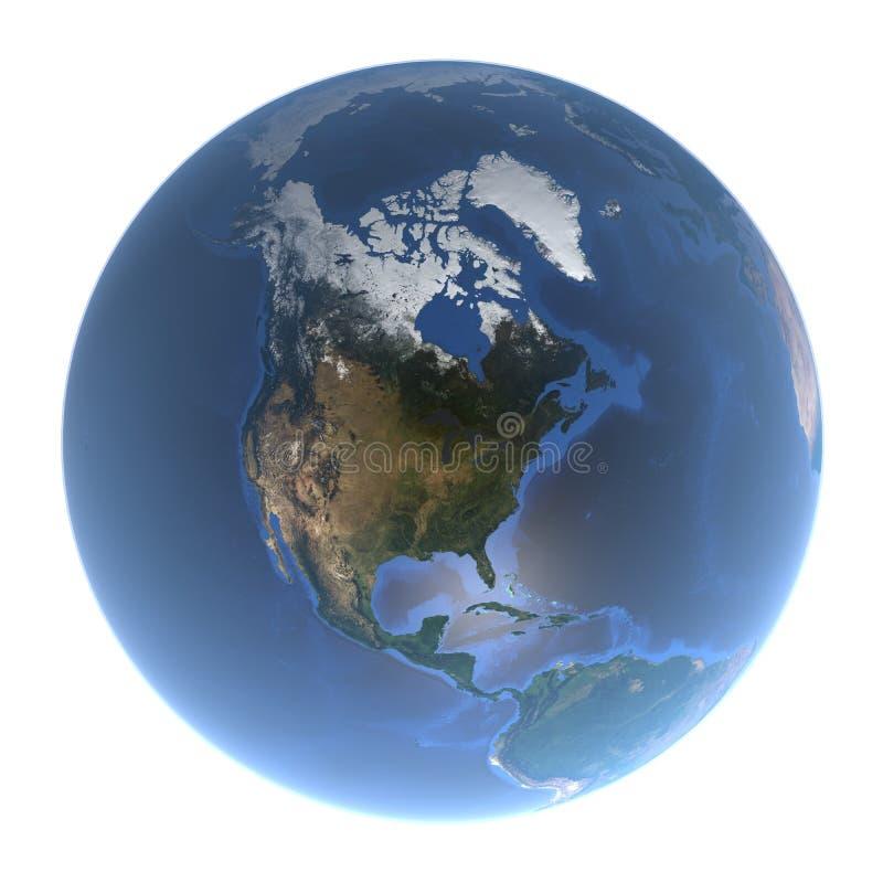 蓝色行星地球-北美, 3d翻译,美国航空航天局装备的这个图象的元素看法没有云彩的 库存例证