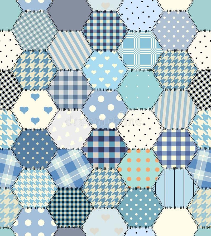 蓝色补缀品六角形 皇族释放例证