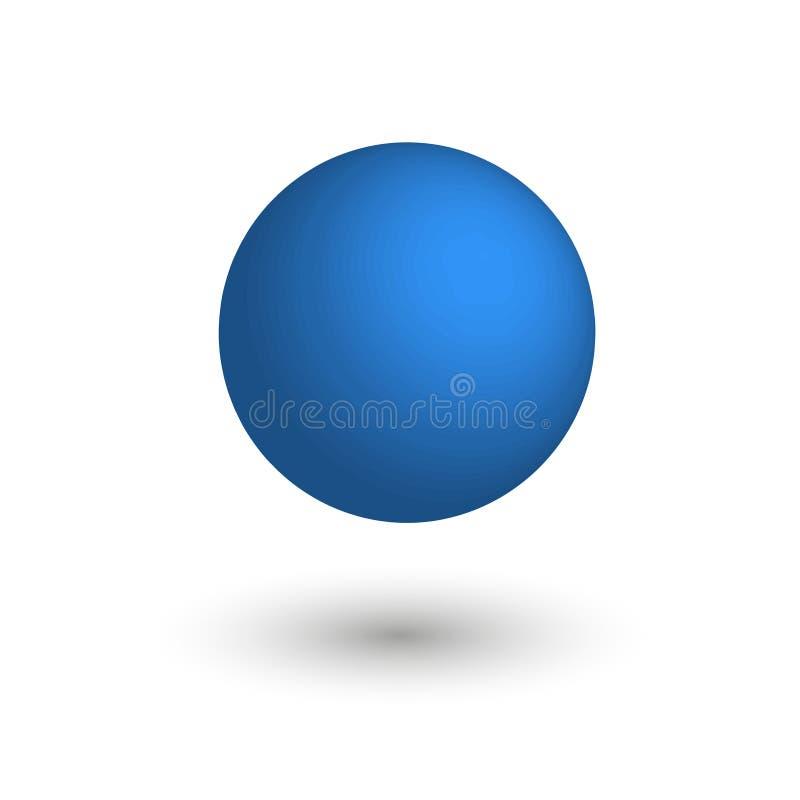 蓝色表面无光泽的球 向量 库存例证