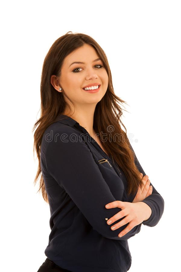 蓝色衬衣的可爱的少妇isoalted在白色 库存照片