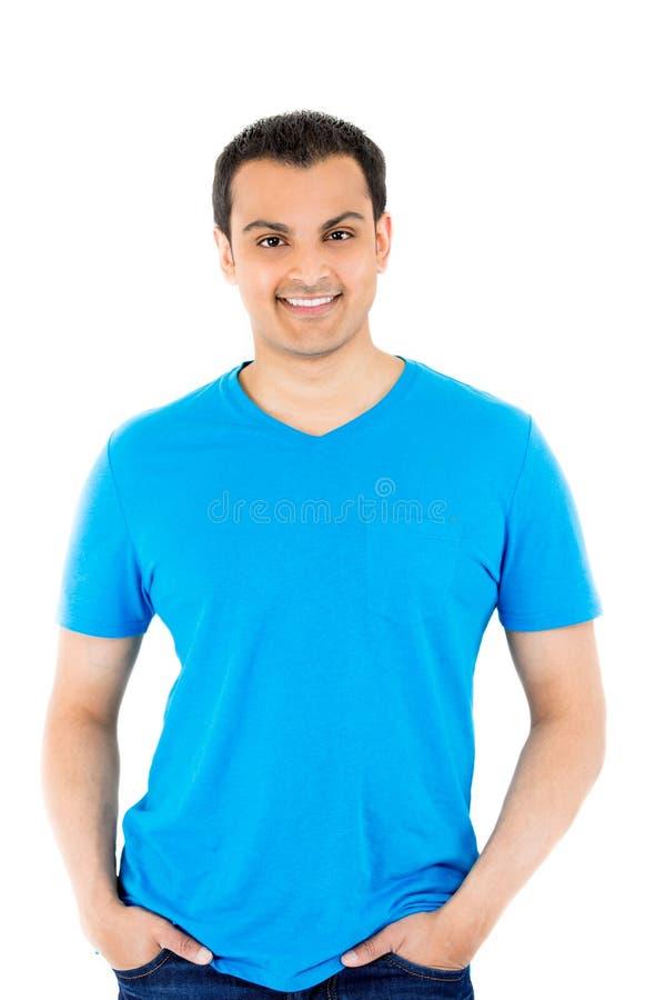 蓝色衬衣的英俊的人 免版税库存照片