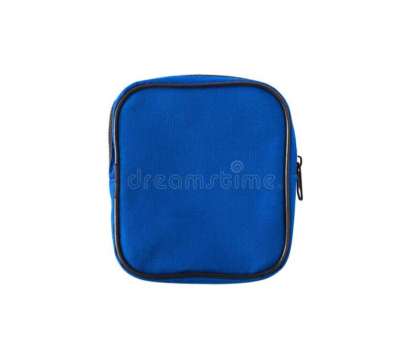 蓝色袋子或案件与拉链 库存图片