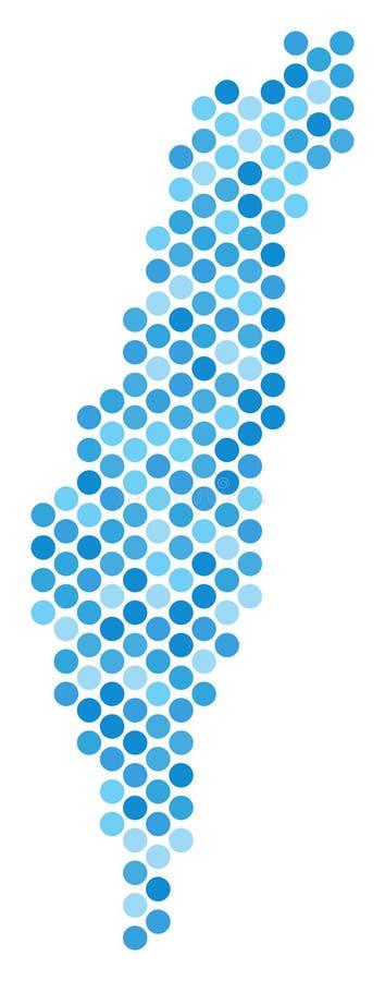 蓝色被加点的以色列地图 库存例证