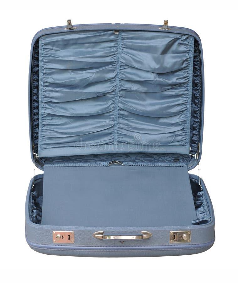 蓝色被开张的手提箱葡萄酒 免版税图库摄影