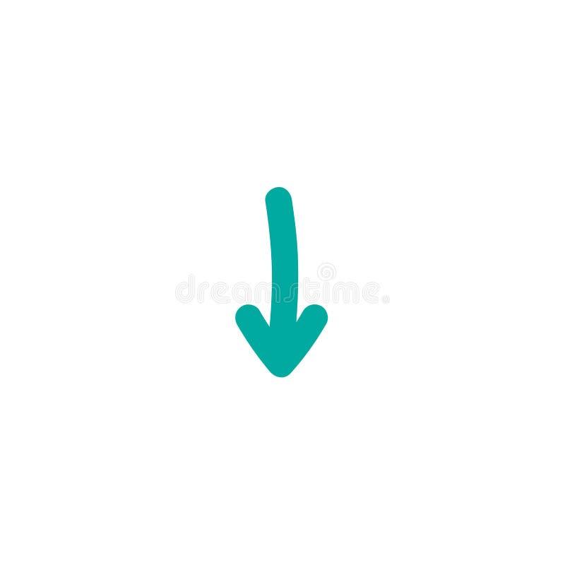 蓝色被环绕的手拉的动画片箭头下来 平的象 下载标志 皇族释放例证