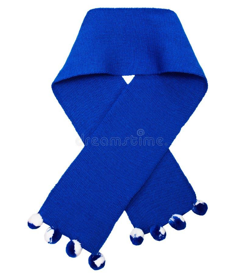 蓝色被编织的围巾羊毛 免版税库存照片