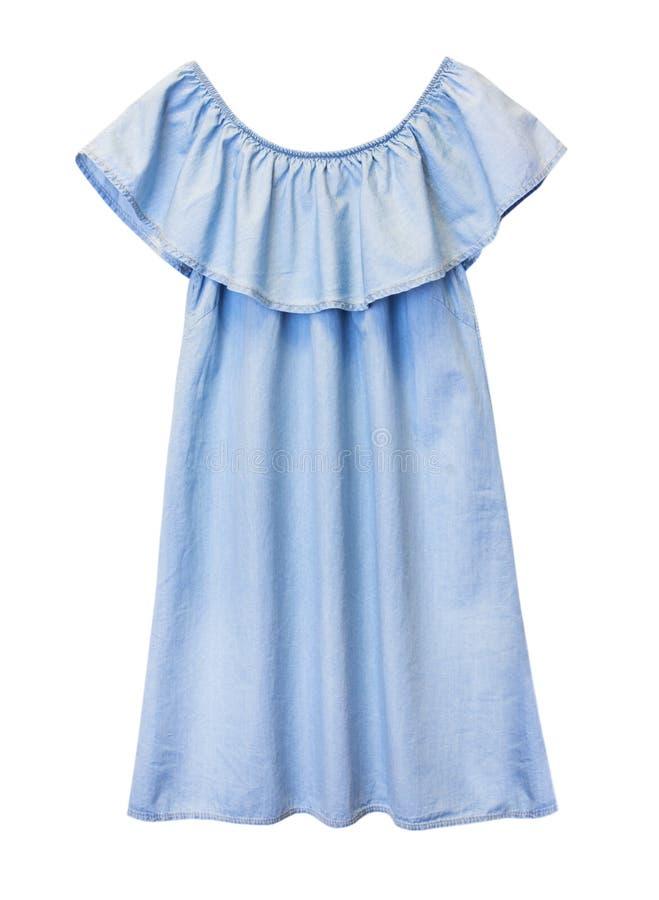 蓝色被隔绝的牛仔布装饰衣裙时尚女性礼服 库存照片