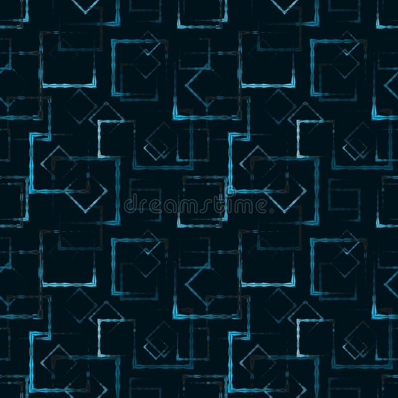 蓝色被雕刻的正方形和菱形一个抽象发光的背景或样式的 库存例证