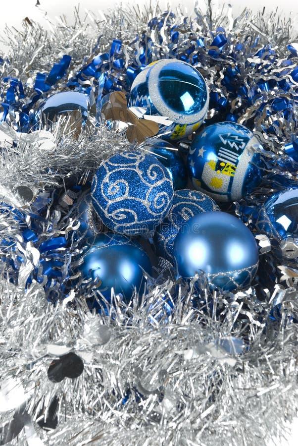蓝色装饰品xmas 免版税库存照片