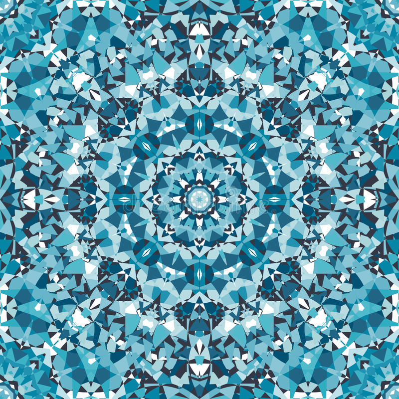 蓝色装饰圆万花筒样式 库存例证