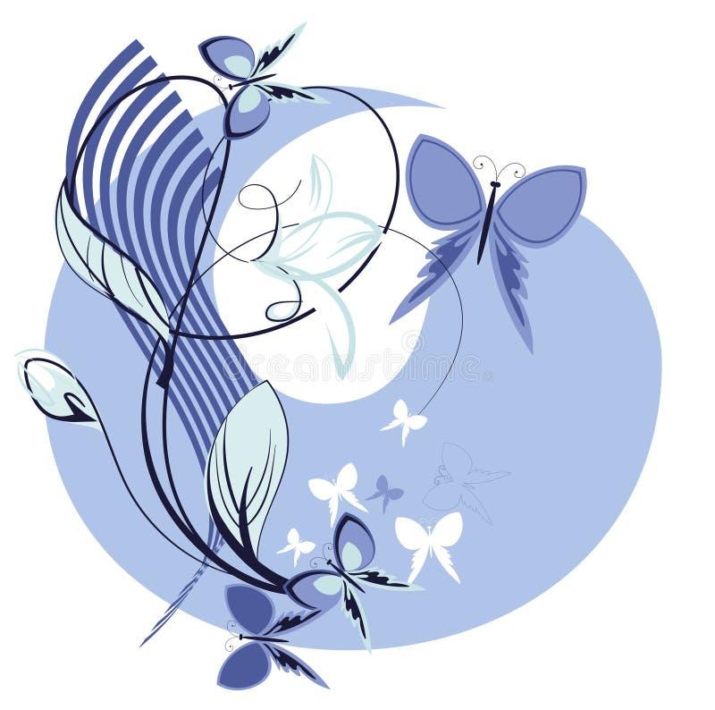 蓝色装饰花 库存例证