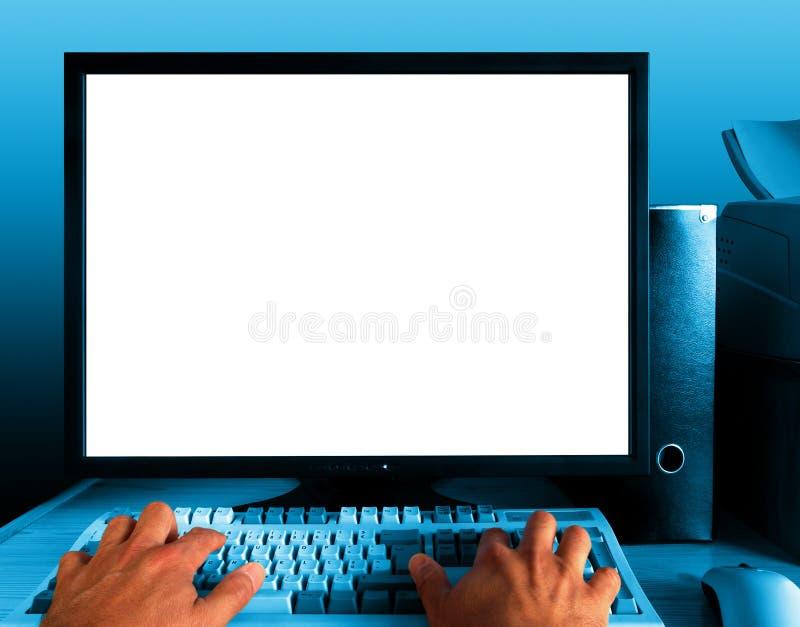 蓝色计算机 库存图片