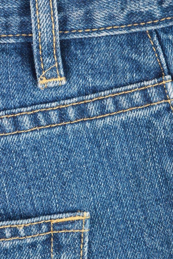 蓝色详细资料牛仔裤 库存图片