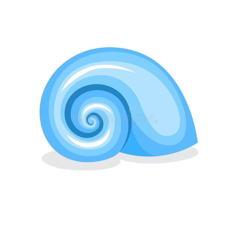 蓝色贝壳 美好的海洋对象 螺旋形状 库存例证